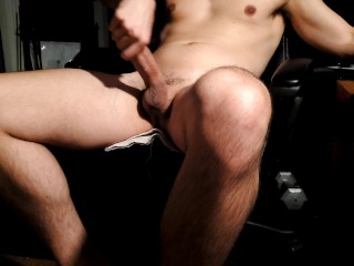 Father toying with hefty cock