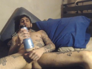 Supah sexy Jerkoff w Fleshlight in sofa makes me jism my third blast of the day