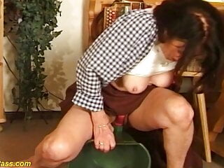 German grandmother pounded with draining bucket