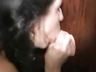 Horny swinger wife gets an oral creampie in the gloryhole