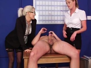 CFNM cougars blowing man meat at office kitchen