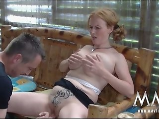 Brutal hubby licks and fingers sweet kitty of his busty fair haired wifey greedily