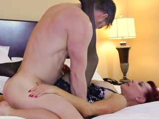 Super hot ginger-haired cougar plumbed by junior dude beautiful Vanessa