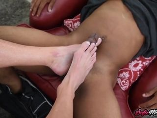 Cock-squeezing cougar in underwear Sofie Marie Gives foot wank to ebony man sausage