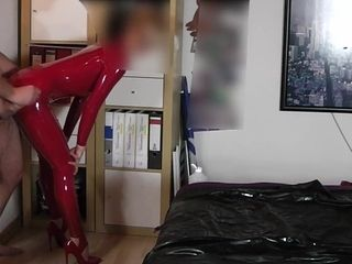 Flawless woman IN spandex CATSUIT ruined THE condom AN caressed THE spunk-pump
