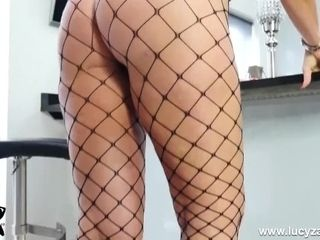 'Blonde princess Lucy Zara taunts mouth-watering booty in undies and fishnet stockings'