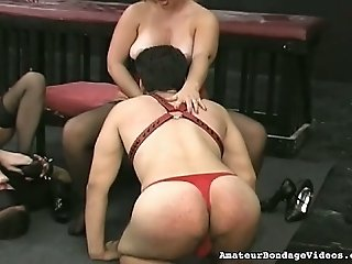 Chubby mistresses exploit submissive slaves in hardy BDSM clip