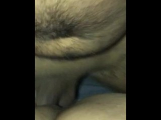 Puny poon creams on yam-sized fuck-stick point of view