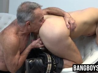 Mischievous older penis inhaling and ball gobbling strung up youthfull jock