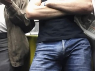 Phat total salute in denim in crowded subway uncovered
