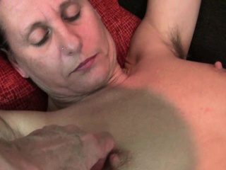 Grandma's hairy pussy gets the finger treatment