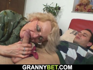 Grandma games with lonely mature female