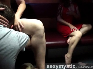 Sis witnesses how my hubby slurping cunt - oral job sex on the train - real duo and wife's sis!