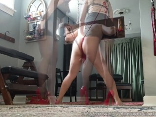 Bastienne Cross bound and Ballbusted in high-heeled shoes and stocking Preview