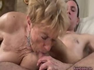This grandmother has decades of practice in pleasuring man sausage