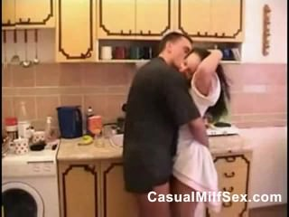 Mom from CasualMilfSex(dot)com and young boy Kitchen fuck porn video