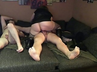 Two mature buddies picked up bootylicious cheap slut for MMF threesome