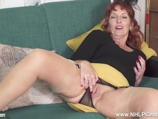 Stunning mature red-haired bf diamonds jerks in bullet brassiere nylon garters high-heeled shoes