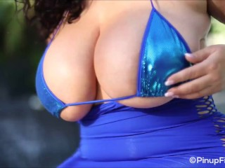 Big-titted Subrina Lucia heads bare-chested in her blue little bathing suit before swimming