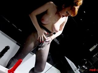 Redheaded fucksluts Showers With Her Nylons On As She paws Her fuckbox
