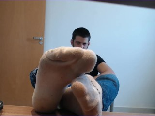 Sole worship ALPHA masculine with filthy milky socks demonstrates you his sweat-soaked nude soles, tramples you