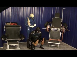 Strong love glove spandex domina And Her sub tied Breathcontrol urinate swallowing