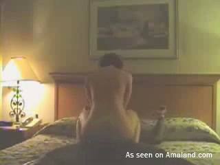 Wanton brunette housewife gets banged well by a handsome guy
