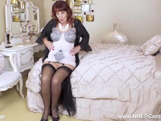 Torrid mature boyfriend diamonds in lacy corselette and nylons playing cock-squeezing cunt