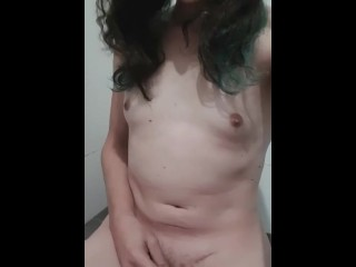 Lil meatpipe trans woman pissing on herself