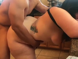 Penetrating stiff my bbw wifey in the kitchen. Naughty and cheating honey