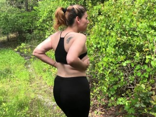 Mom jerks on exercise Hike - large bootie white nymph - cougar Finger Plays In Wooded realm