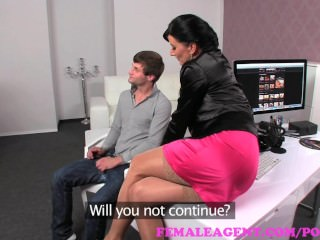 FemaleAgent. MILF catches stud wanking and takes full advantage of him