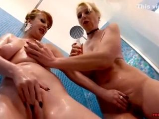 Matures and Lucy Gresty taunting in the douche