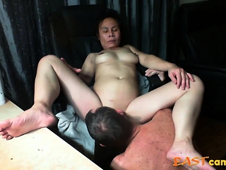 Japanese gal get tongued untill climax