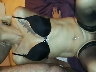 Mature skinny blonde whore gives blowjob in front of webcam