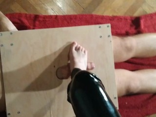 Domina point of view boner trampling naked soles her marionette