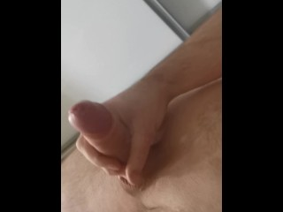 Masturbating immense milky uncircumcised sausage with jism shot