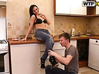 Russian young housewife Marina is fucked right on the kitchen table