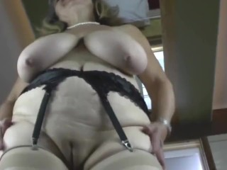 Old grandmother with yam-sized saggy baps and thirsty fuckbox