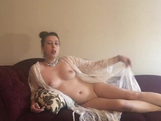 Uber-sexy dark haired princess Smoking Virginia Slims 120 bare w Lace bathrobe on sofa