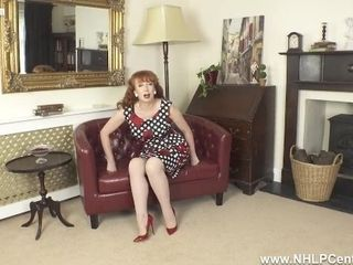 Buxomy red-haired finger humps raw cunny in retro glance nylons girdle high high-heeled slippers