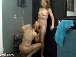 """21Sextreme shaggy grannie Joined by man in Shower"""