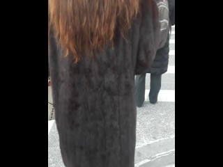 Japanese chick in total Length Dyed dark-skinned & crimson Mink wool decorate