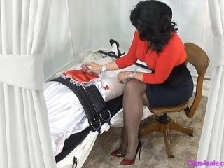 Mistress mom Gives corded Sissy hand job tugging