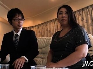 Voluptuous mature asian floosy in blowage lovemaking act