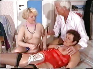 German Mature Threesome - Shaving, Fisting Anal