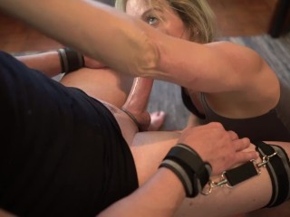 Corded to stool - I oral pleasure, Gag, Blowjob/ hand job and destroy his climaxes
