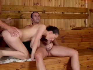 Uber-sexy fledgling lady with very big knockers banged by 2 mens in sauna
