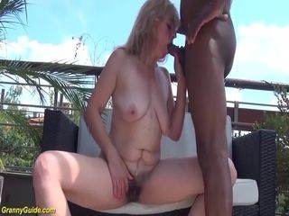 Wooly 72 years older grannie first-ever time bi-racial