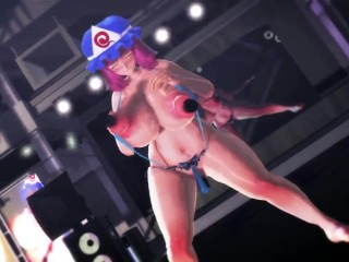 [3D MMD] huge-titted lovely dame dances with fuck-fest toys in her humungous nipples